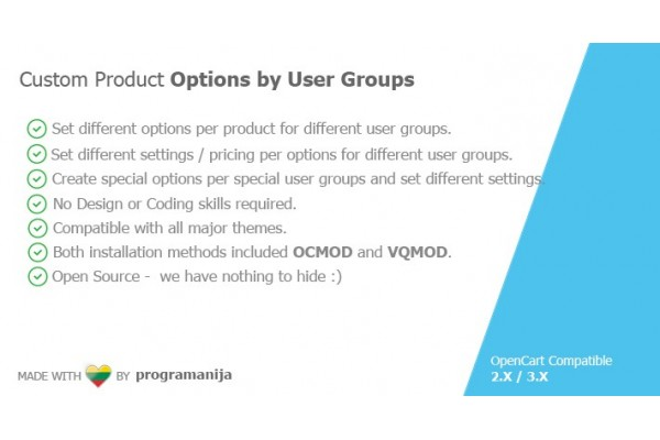 Different Product Options Per User Groups